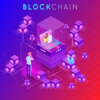 Modernes konzept der digitaltechnik in form von blockchain