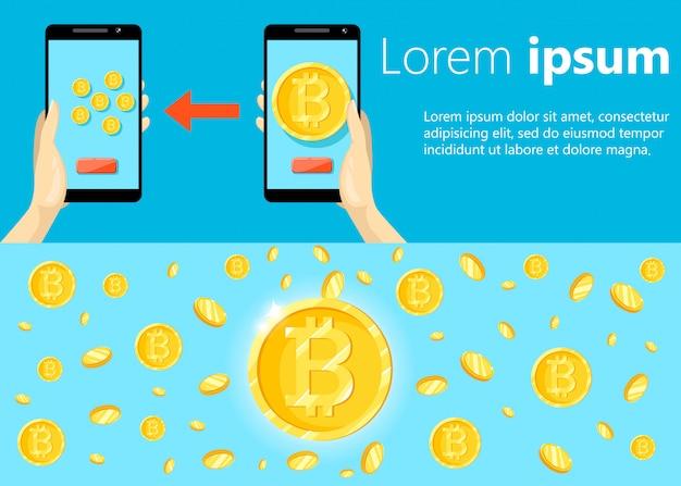 Modernes konzept der kryptowährungstechnologie, bitcoin-austausch, bitcoin-mining, mobile banking. hand, die handy mit dem verschieben von bitcoins in brieftasche hält.