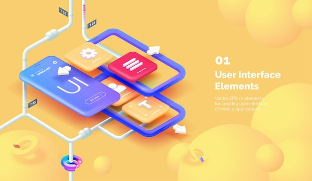 Modernes konzept der mobilen app-benutzeroberfläche 3d-smartphone auf gelbem hintergrund mit werkzeugen zum erstellen einer mobilen schnittstelle mobiles interface-design moderne vektorillustration im isometrischen stil