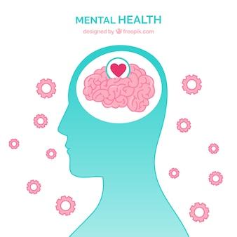 Modernes konzept der psychischen gesundheit mit flachem design