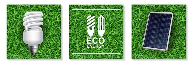Modernes konzept der realistischen ökoenergie mit energiesparlampe und sonnenkollektor auf grasillustration