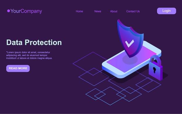 Modernes konzept für mobile sicherheit. smart app schützt smartphones vor diebstählen und hackerangriffen. internet der dinge technologie des automatischen schutzes.