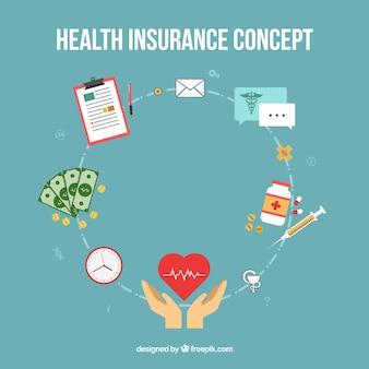 Modernes konzept mit krankenversicherungselementen
