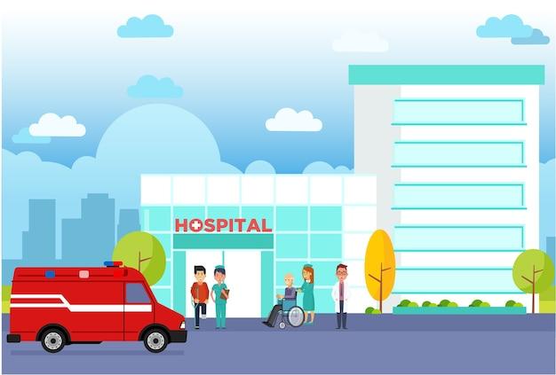 Modernes krankenhaus, das flachen vektor errichtet
