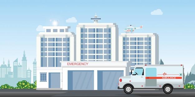 Modernes krankenhausgebäude mit medizinischem klinikäußerem des krankenwagenautos und des medizinischen notzerhackerhubschraubers.