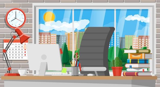 Modernes kreativbüro oder heimarbeitsplatz. arbeitsplatz mit computer, lampe, uhr, büchern, kaffee, kalender, stuhl, schreibtisch und schreibwaren. schreibtisch mit business-elementen. vektorillustration im flachen stil