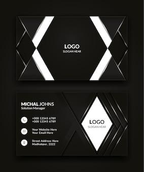 Modernes kreatives und sauberes visitenkartenschablonendesign im schwarzweiss-farbvektorhintergrund.