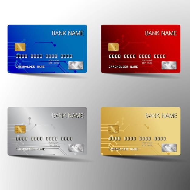 Modernes kreditkarten-gesetztes schablonendesign. mit inspiration aus dem abstrakt. vektorillustrationen