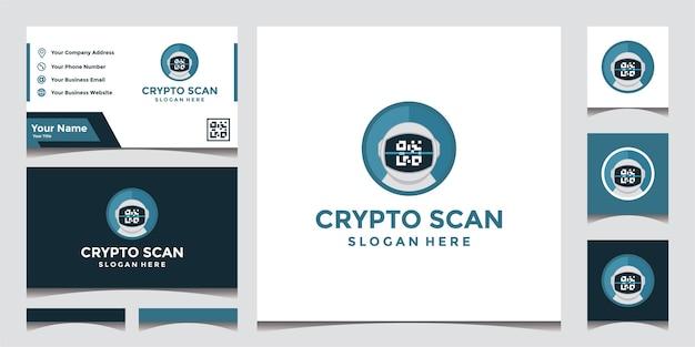Modernes krypto-scan-technologie-logo und visitenkarten-entwurfsvorlage.