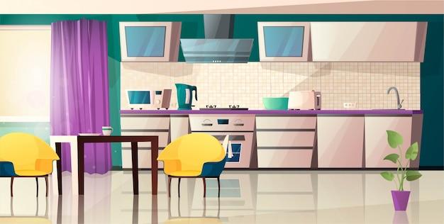 Modernes kücheninterieur mit ausstattung. ofen, mikrowelle, wasserkocher, toaster, dunstabzugshaube, tisch, stuhl und topf mit pflanze. karikaturillustration.