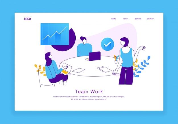Modernes kundenspezifisches illustrationskonzept von mann und frauen, die als team für website und mobile website zusammenarbeiten. zielseitenvorlage