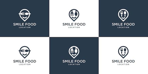 Modernes lächeln-nahrungsmittellogo mit stiftkarten-symbolsatz