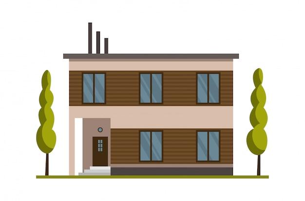 Modernes landhaus zum buchen und wohnen. vorderansicht des hauses außenansicht mit flachdach. hausfassade mit tür und fenstern. modernes stadthaushaus. immobilienbauikone