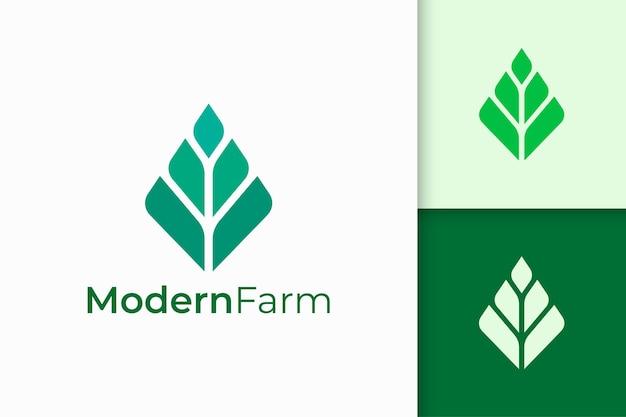 Modernes landwirtschafts- oder landwirtschaftslogo in abstrakter geometrieform Premium Vektoren