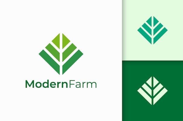 Modernes landwirtschafts- oder landwirtschaftslogo in abstrakter geometrieform