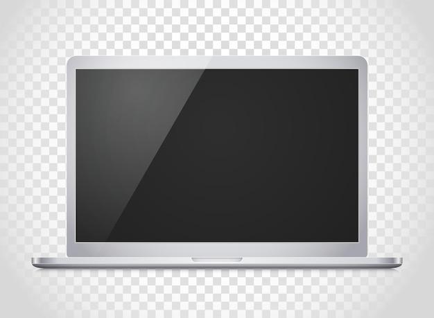 Modernes laptop-computer-vektormodell. fotoreale illustration des vektornotizbuchs. vorlage für einen inhalt