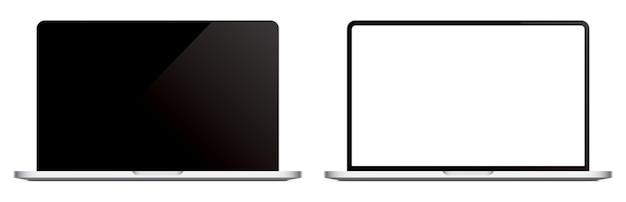Modernes laptop-vektormodell auf hintergrund isoliert