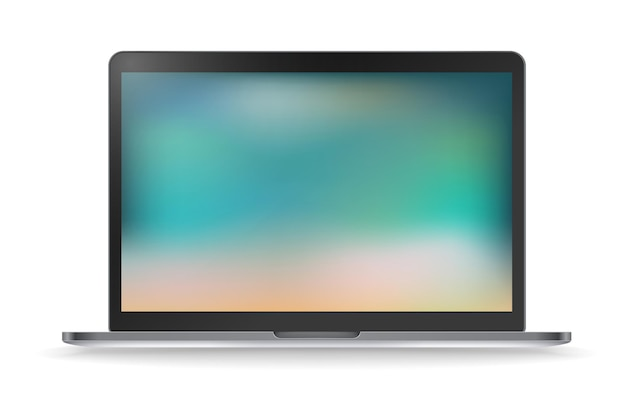 Modernes laptop-vektormodell mit unscharfem hintergrund. vorlage für einen kontakt