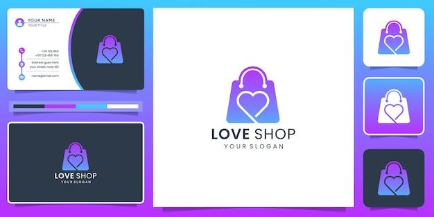 Modernes liebeslinien-silhouette-logo und shop-taschen-design mit farbverlauf und visitenkartenvorlage.