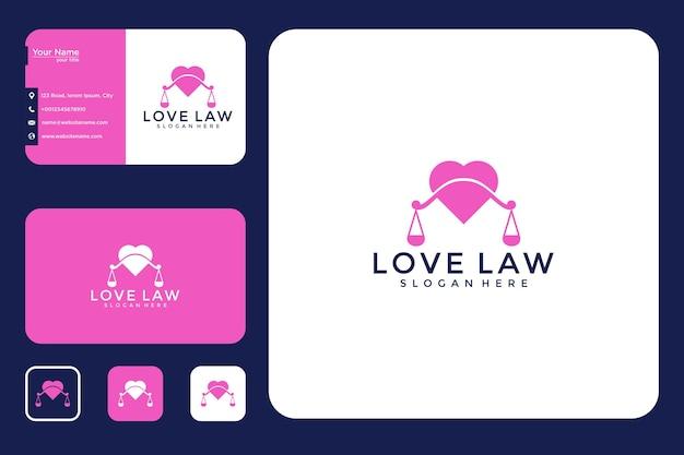 Modernes liebesrecht-logo-design und visitenkarte