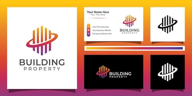 Modernes linienkunstgebäude-eigenschaftslogo, wohnung, immobilien, hotel. fin tech logo
