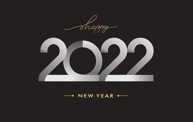 Modernes logo 2022, zeichen des guten rutsch ins neue jahr 2022, vektorillustration