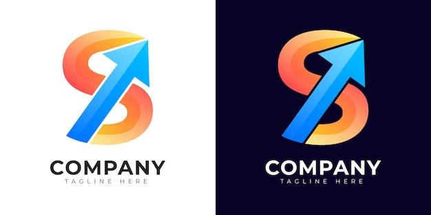 Modernes logo des anfangsbuchstabens im farbverlauf mit wachstumssymbol