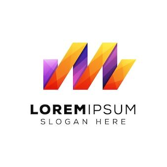 Modernes logo des farbbuchstaben m, buntes anfangsbuchstabenlogo