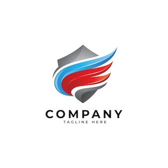 Modernes logo des flügels 3d und des schildes