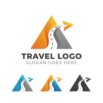 Modernes logo-design des abstrakten buchstabens a mit straßen- und flugzeugsymbol, dreiecksagentur-reiseikonen-logoillustration