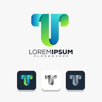 Modernes logo-design für den buchstaben t