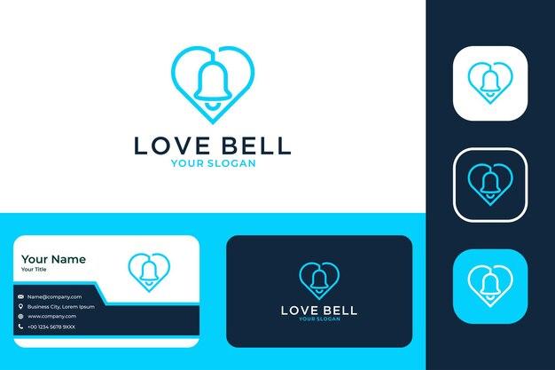 Modernes logo-design und visitenkarte der liebesglocke