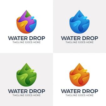 Modernes logo für flüssiges wasser im 3d-stil.