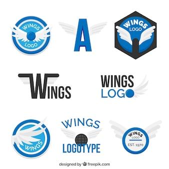 Modernes logotyp der flügelsammlung