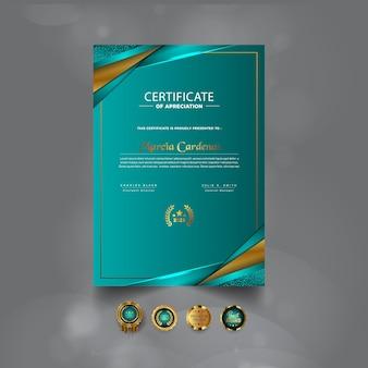 Modernes luxuriöses professionelles zertifikatsvorlagendesign
