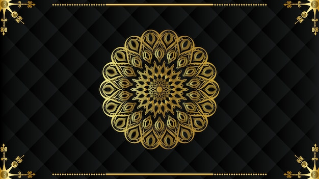 Modernes luxus-mandala mit goldenem arabesken muster arabischer königlicher islamischer stil