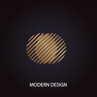 Modernes luxusdesign der geometrischen abstrakten goldenen kreise auf schwarzem hintergrund