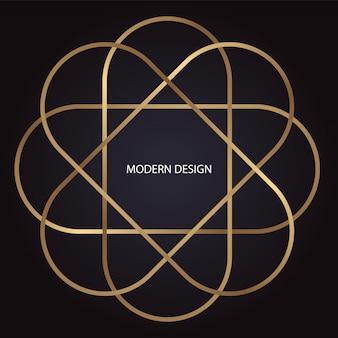 Modernes luxusdesign im art-deco-stil mit goldener ellipse auf dunklem hintergrund