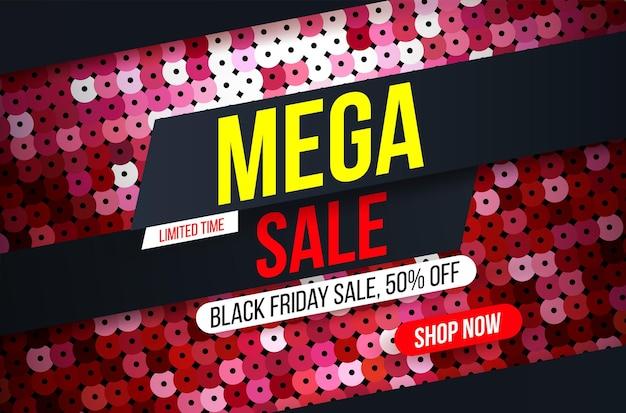 Modernes mega-sale-banner mit rotem pailletten-stoff-effekt für sonderangebote und rabatte
