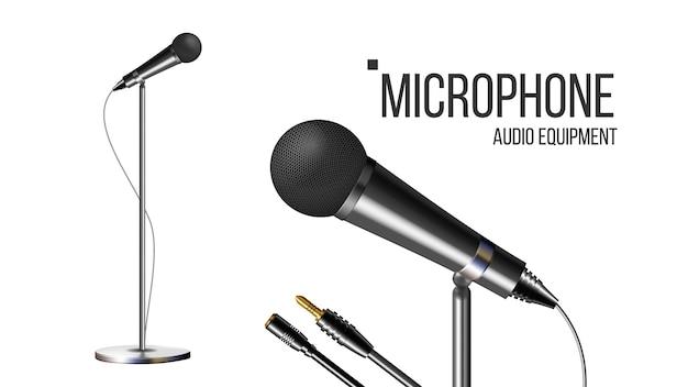 Modernes mikrofon mit ständer