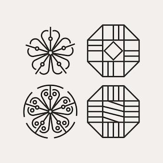 Modernes minimalistisches koreanisches traditionelles musterdesign Premium Vektoren