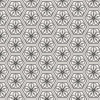 Modernes minimalistisches traditionelles koreanisches musterdesign mit dünner linie