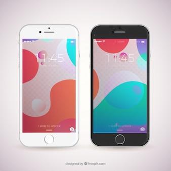 Modernes mobile mit abstraktem hintergrund