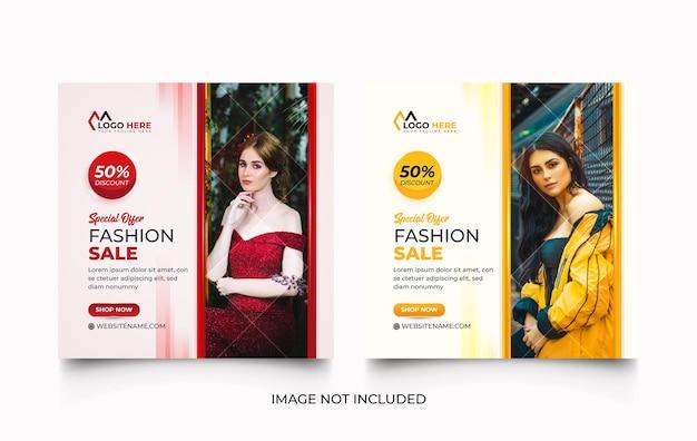 Modernes modeverkaufs-social-media-promotion-schablonendesign-set mit kreativen formen