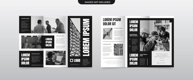 Modernes monochromes dreifach gefaltetes broschürenlayout