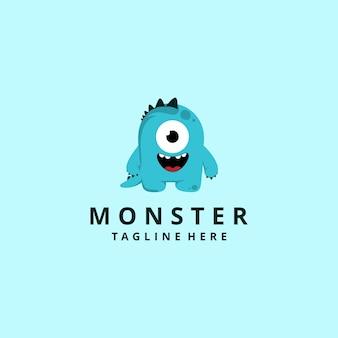 Modernes monster-maskottchen-logo der zeichentrickfigur