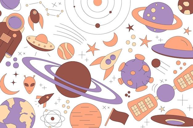 Modernes muster von planet, stern, komet, mit verschiedenen raketen. strichzeichnungen des universums. kosmos. trendige weltraumzeichen, konstellation, mond. doodle-stil, symbol, skizze. auf dunklem hintergrund.