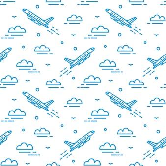 Modernes nahtloses muster mit flugzeug, das im himmel fliegt. hintergrund mit flugzeug aufsteigend zwischen wolken mit linien gezeichnet.