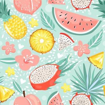 Modernes nahtloses muster mit früchten, blumen, blättern und herzen.