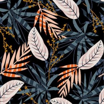 Modernes nahtloses muster mit hellen tropischen blättern und pflanzen